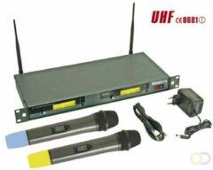 Velleman Draadloos 8-Kanaals Uhf Dubbel Microfoonsysteem Met Lcd-Scherm