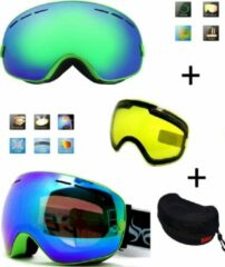 Improducts Ski bril met box en EXTRA lens Smoke groen frame Groen F type 5 Cat. 0 tot 4 - ☀/☁