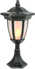 Zwarte Muntex LED solar lantaarn vlam 3-in-1
