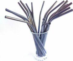 Duurzame-Rietjes RVS rietjes | Zwart | 8 stuks | Herbruikbare rietjes | Vervanging voor plastic rietjes | Duurzame rietjes | Gekleurde rietjes | Incl. schoonmaakborstels | Zwarte rietjes | Metalen rietjes