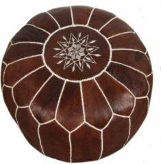 Marocstore.nl Handgemaakte Marokkaanse Leren Poef - Cognac bruin