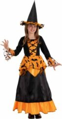 Zwarte CARNIVAL TOYS - Vleermuis heks kostuum met hoed voor meisjes - 146 (10-11 jaar) - Kinderkostuums