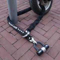 Zwarte Vinz Trivor ART 4 Kettingslot - 200 cm Motorslot van Gehard Staal met Ring / Scooterslot met Hangslot / Schijfremslot