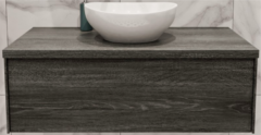 Boss & Wessing Badkamermeubel BWS Madrid Washed Oak 100 cm met Massief Topblad en Keramische Waskom (0 kraangaten)