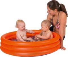 Merkloos / Sans marque Oranje opblaasbaar zwembad 122 x 23 cm speelgoed - Rond zwembadje - Pierenbadje - Buitenspeelgoed voor kinderen
