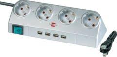 Brennenstuhl Desktop-Power 4-fach mit Schalter und USB-Hub 2.0 silber