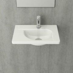 Wastafel Ideavit Solidpure 150x45x20 cm Twee Open Vakken Solid Surface Mat Wit