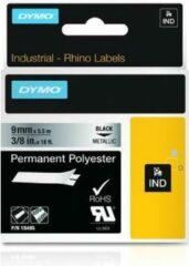 Labeltape DYMO IND RHINO 18485 Polyester Tapekleur: Metallic Tekstkleur:Zwart 9 mm 5.5 m