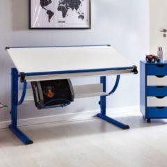 Wohnling Design Kinderschreibtisch MORITZ Holz 120 x 60 cm blau / weiß Jungen Schülerschreibtisch neigungs-verstellbar Schreibtisch Kinder höhenvers