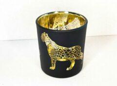 Gouden Droogbloemenbouquet.nl Luipaard waxinelichthouder Gold Small