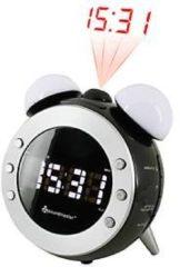Soundmaster UR140SW UKW Uhrenradio mit Projektion und dimmbaren Nacht- und Aufwachlicht - schwarz