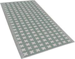 Buiten-vloerkleed geometrisch patroon licht-groen 90 x 180 cm. ROHTAK