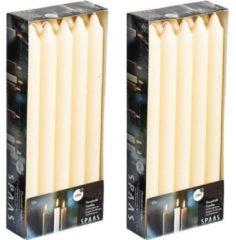 Spaas 20x Ivoorwitte dinerkaarsen 24 cm 8 branduren - Geurloze kaarsen - Huishoudkaarsen/tafelkaarsen/kandelaarkaarsen