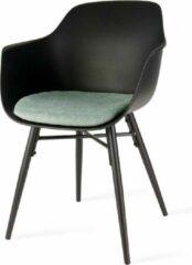 Nolon Nova eetkamerstoel - Zwarte zititng met armleuningen en zacht groen zitkussen