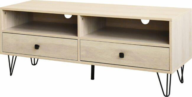 Afbeelding van Beige QUVIO Tv meubel / Tv-dressoir / Tv kastje - Met 2 lades en 2 legplanken - Hout en staal - 40 x 120 x 46 cm