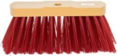 Beige Merkloos / Sans marque Straatveger rood PVC - 30 cm - incl. steel hout 140 cm