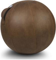Zitbal Veel - Cognac - polyester met lederlook - Ø70-75 - Vluv