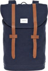 Sandqvist Stig Backpack blue with cognac brown leather backpack