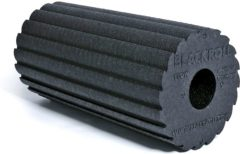 Zwarte Blackroll Flow Foam Roller - Fasciarol - Geribbeld oppervlak met kantprofiel voor gelijktijdige stimulatie en rehydratie - Zwart