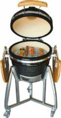 Zwarte Grill-Kamado-Houtskoolgrill-BBQ- Houtskool BBQ-Barbecue-Keramiek-16 inch-Inclusief onderstel-Outdoor oven-Houtskool barbecue-Auplex-Inclusief regenhoes