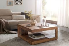 Wohnling Couchtisch MUMBAI Massiv-Holz Sheesham 90 cm breit Design Wohnzimmer-Tisch dunkel-braun Landhaus-Stil Beistelltisch
