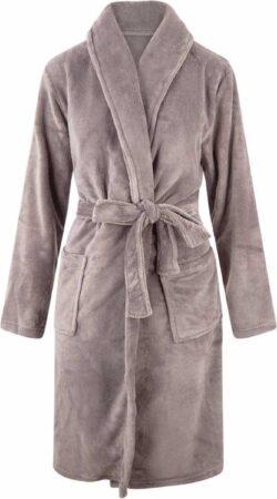 Afbeelding van Relax Company Kinderbadjas - Taupe/Grijs - fleece - meisjes & jongens - ochtendjas- maat 110/116