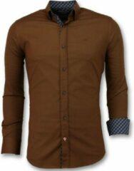 Tony Backer Heren Blanco Overhemden Italiaans - Extra Slim Fit - 3038 - Bruin Casual overhemden heren Heren Overhemd Maat L