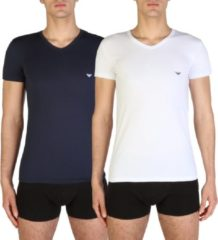 Emporio Armani - Basis 2-pack V-hals T-shirt Wit / Blauw - S