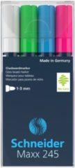 Marker Schneider Maxx 245 4st. in etui, zwart, groen, blauw, rood