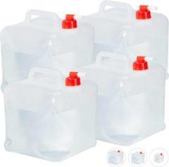Transparante Relaxdays opvouwbare jerrycans - met kraantje - water jerrycan - watertank - 4 stuks - set 10 Liter