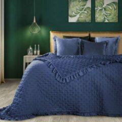 Marineblauwe Brulo Beddensprei sprei kleur Navy blauw 170X210cm 100% POLYESTER