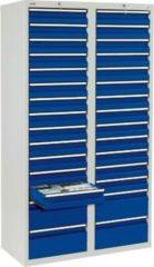 Stumpf Metall Stumpf® STS 410 Schubladenschrank mit 30 Schubladen, lichtgrau / blau - 180 x 100 x 50 cm