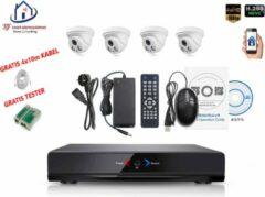 Witte Home-Locking camerasysteem met NVR 2.0MP H.265 POE en 4 binnen camera's 2.0MP CS-4-1401