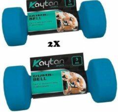 Blauwe Kaytan Dumbbell set van 2 x 3KG - Dumbbells gewichten - Halterset