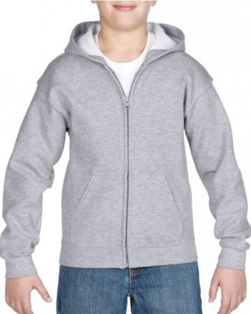 Afbeelding van Grijze Gildan Grijs capuchon vest voor jongens - maat XS (104-110)