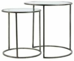 Zilveren Light & Living Bijzettafel DUARTE - glas-vintage tin - set van 2