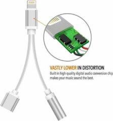 Zilveren Eforyou Lightning compatible 2 in 1 audio adapter splitter opladen & audio voor iPhone
