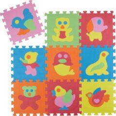 Relaxdays speelmat 90 x 90 cm - puzzelmat EVA schuim - speelkleed - speeltapijt BPA-vrij Dieren