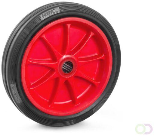 Afbeelding van Fetra Massief rubber band 260 x 56 mm, Kunststof velg rood, NL 75, as 25