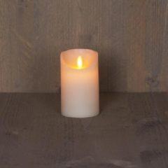Creme witte Anna's Collection 2x Ivoren LED kaars / stompkaars 12,5 cm - Luxe kaarsen op batterijen met bewegende vlam