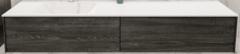 Boss & Wessing Badkamermeubel BWS Madrid Washed Oak 180x45x30 cm Mat Witte Solid Surface Wastafel Links (0 kraangaten, 2 lades)