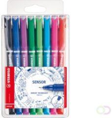 Paarse STABILO SENSOR - Fineliner 0.3 mm - Etui Met 8 Kleuren