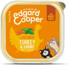 Edgard & Cooper Kalkoen & Garnalen Kuipje - Voor volwassen katten - Kattenvoer - 85g