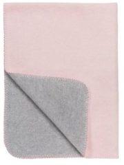 Meyco katoenen wiegdeken Tweekleurig roze/grijs melange 75x100 cm