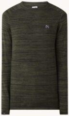 Donkergroene CHASIN' Eddy pullover met ribstructuur