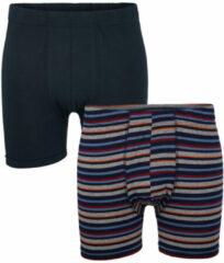 Marineblauwe Boxershort G Gregory 1x marine, 1x marine/grijs/rood