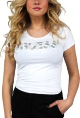 Witte GUESS T-shirt met logo en kraaltjes zwart