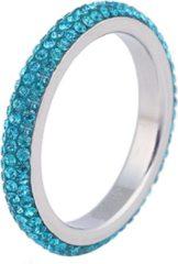 Cilla Jewels ring edelstaal Kristal Blauw-17mm