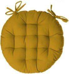 Gele Atmosphera DELUXE stoelkussen rond oker - ronde stoelkussens - D38 cm - Met 2 lintjes