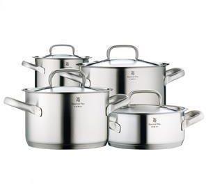 Afbeelding van Zilveren WMF Gourmet Plus - 4 delig- RVS Pannenset Pannenset - 4-delig